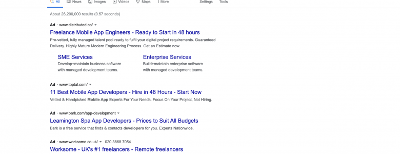 Finding freelancers on Google